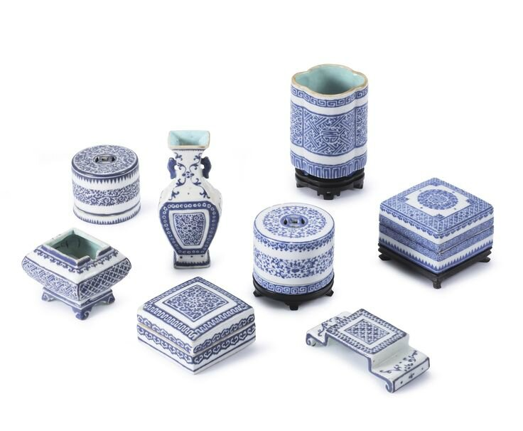 A group of blue-enamelled vessels for the scholar's desk, Seal marks and period of Qianlong