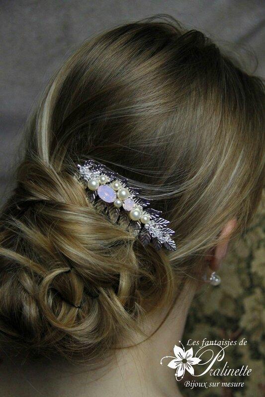 bijoux-mariee-peigne-mariage-feuilles-de-laurier-cristaux-rose-opal