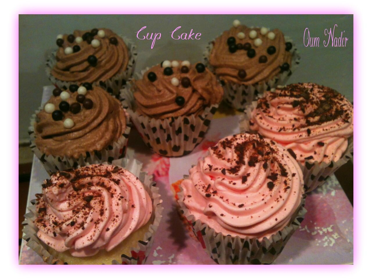 Cupcakes amandes, nappage mousse chocolat