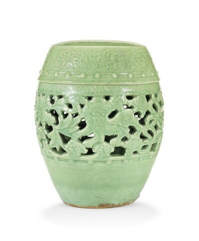 A rare Longquan green-glazed reticulated garden seat, 15th century