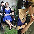 Parure de mariage pour une mariée en bleu roi