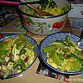 Pâtes et haricots plats au tofu fumé