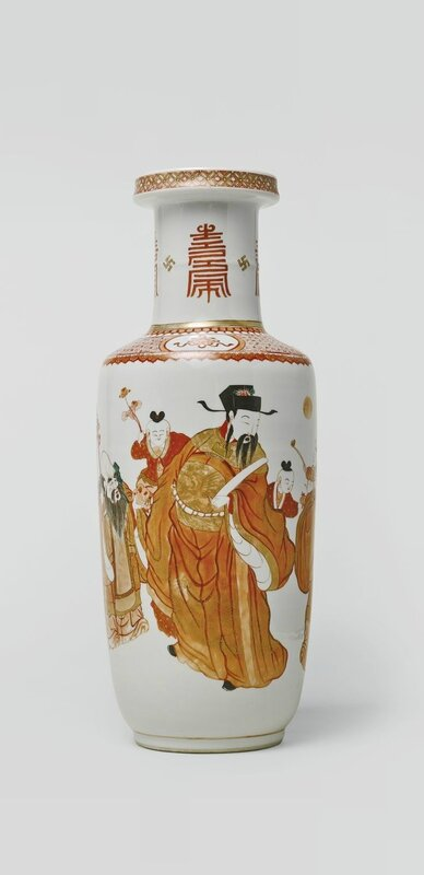 A rare and important iron-red and gilt rouleau vase, Qing dynasty, Kangxi period