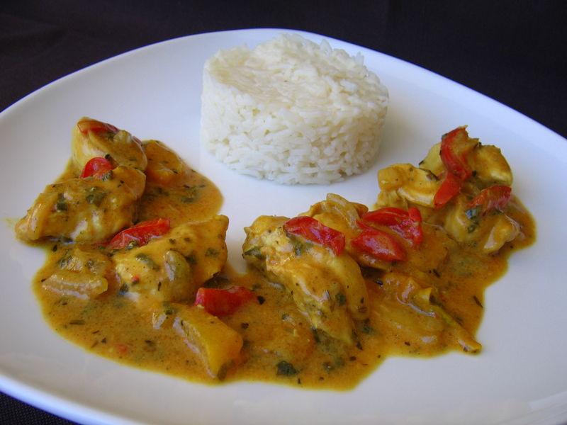 poulet au curry et poivron