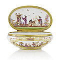 Cthree 19th century chinoiserie snuff boxes in meissen style
