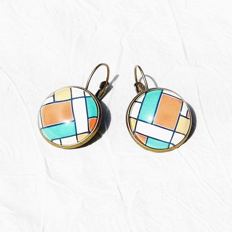 sophie 6 boucles d'oreilles année 70 graphiques oranges bijoux colorés par louise indigo