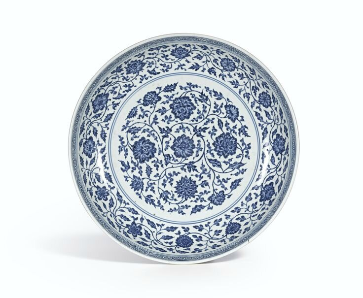 A blue and white 'Flower scroll' dish, Mark and period of Yongzheng