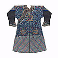 An embroidered blue-ground dragon robe, mangpao, 19th century