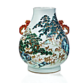 A very rare and magnificent famille rose 'hundred deer' vase, hu, qing dynasty, qianlong mark and period (1736-1795)