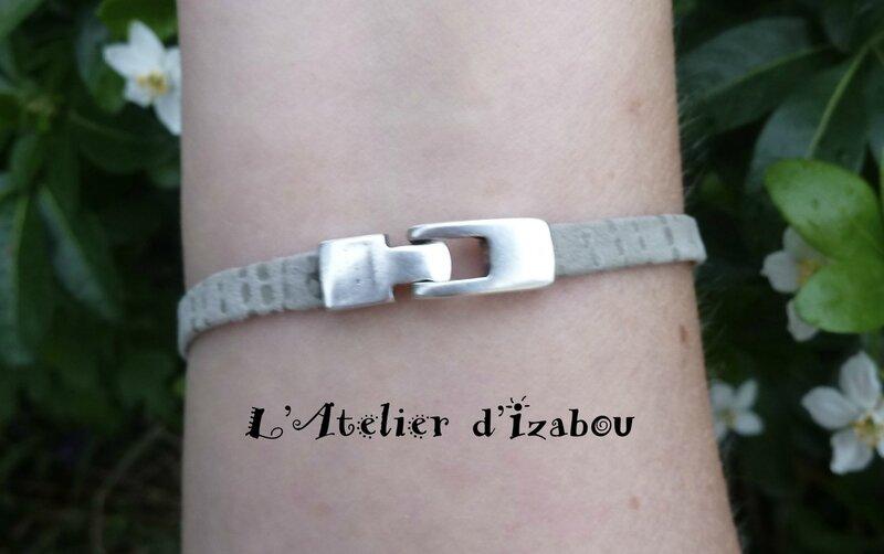 Bracelet femme léger et fin cuir/daim gris moucheté et passant plume