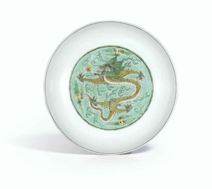 An extremely rare Famille-Noire 'Dragon' dish, Mark and period of Yongzheng