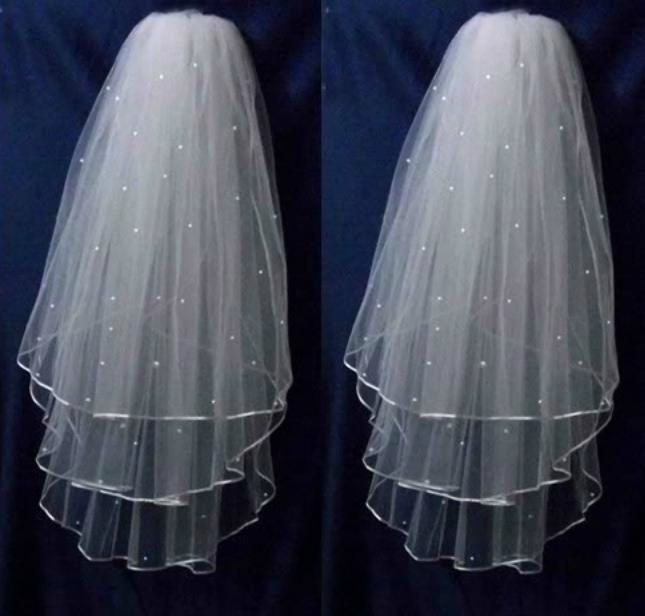 Voile de mariée triple épaisseur avec perles blanc ou ivoire