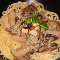 Spaghetti aux pleurotes et noisettes