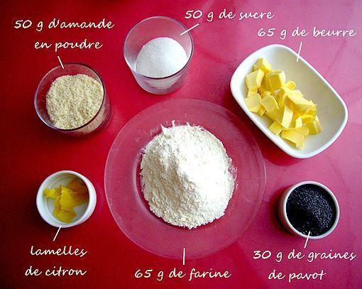 les ingrédients des biscuis scixitron pavot