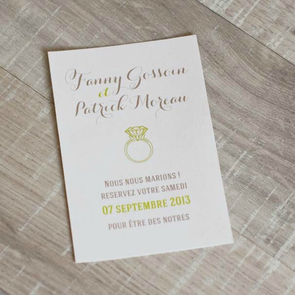 faire-part fleur vert blanc save the date
