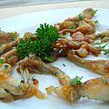 Cuisses de grenouille laquées au vinaigre de framboise
