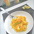 Risotto, crevette, coco, curry et citron vert