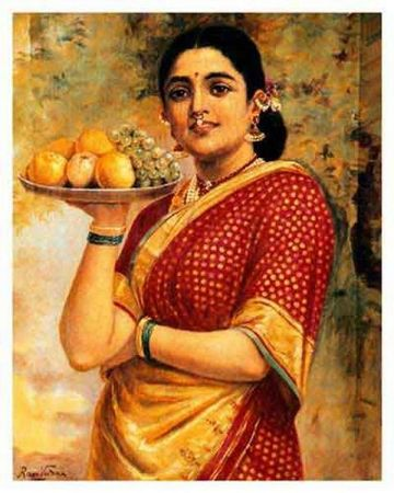 Raja-ravi-varma-lady-with-fruits
