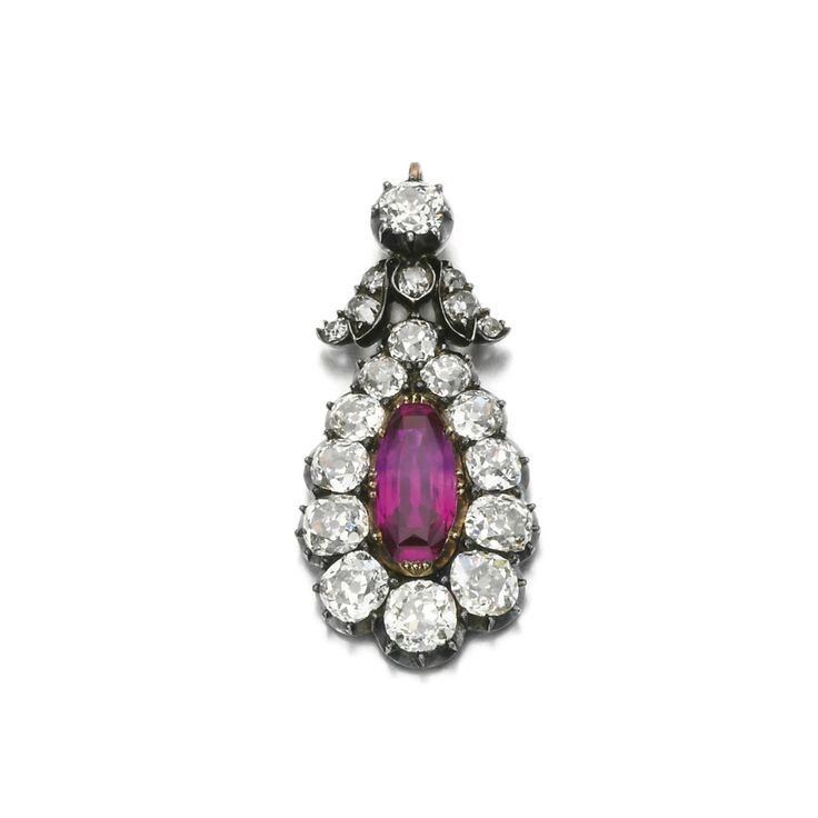 Ruby and diamond pendant, late 19th century