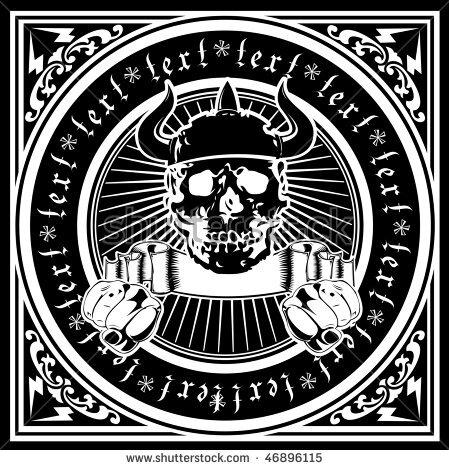 stock-vector-ornate-quad-horned-skull-one-color-vector-illustration-46896115