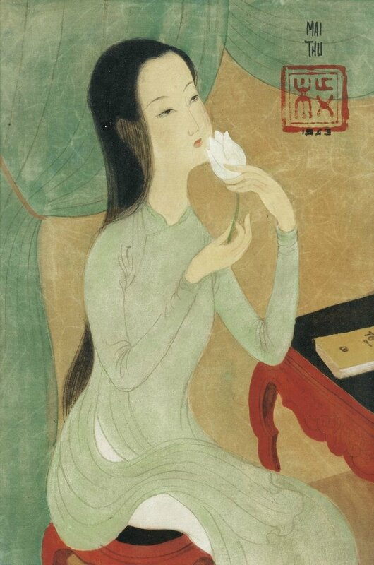 Mai Trung Thu (1906-1980), Femme et fleur (Young lady with flower), 1943