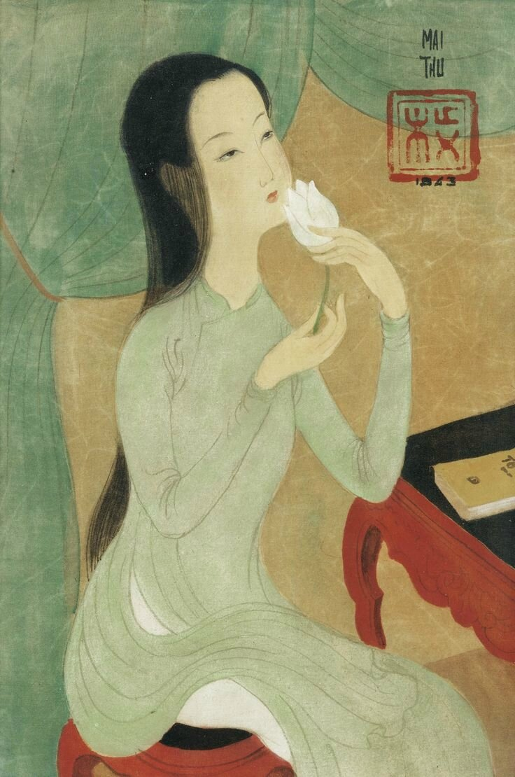 Mai Trung Thứ (1906-1980), Femme et fleur (Young lady with flower), 1943