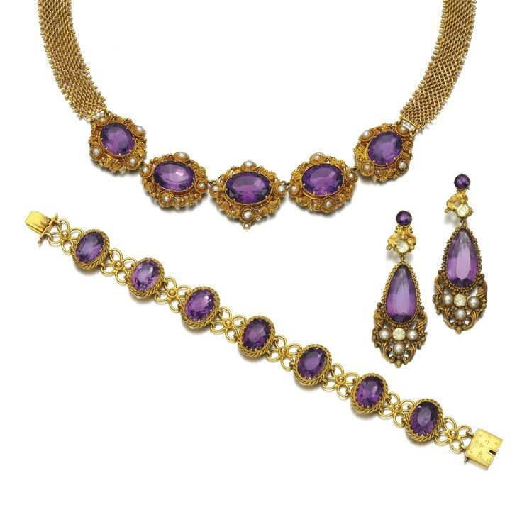 Collection of amethyst jewels, 1820s and later