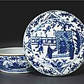 A rare blue and white box and cover, wanli six-character mark in underglaze blue and of the period (1573-1619)