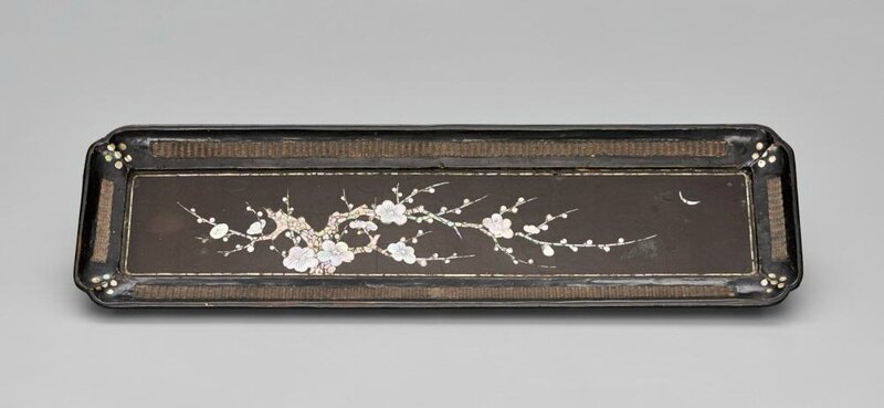 Rectangular tray with plum branch design