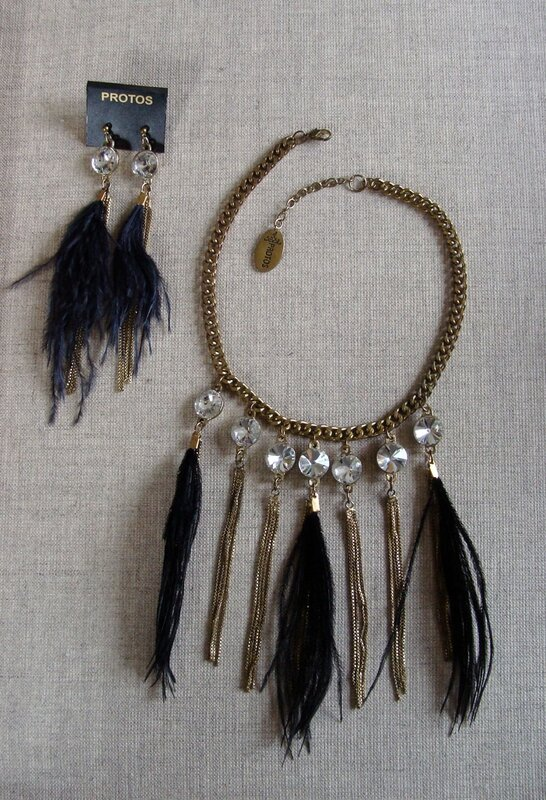 collier plumes noirs et strass