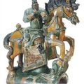 Chinese ming-qing tileworks figures of an equestrian & painted pottery horse heads, han dynasty