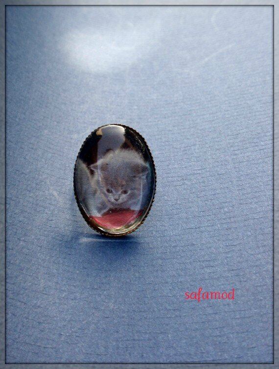 Bague bronze rétro Cabochon Chaton verre