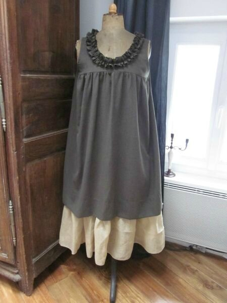 Robe BRUNE en lin kaki (2)