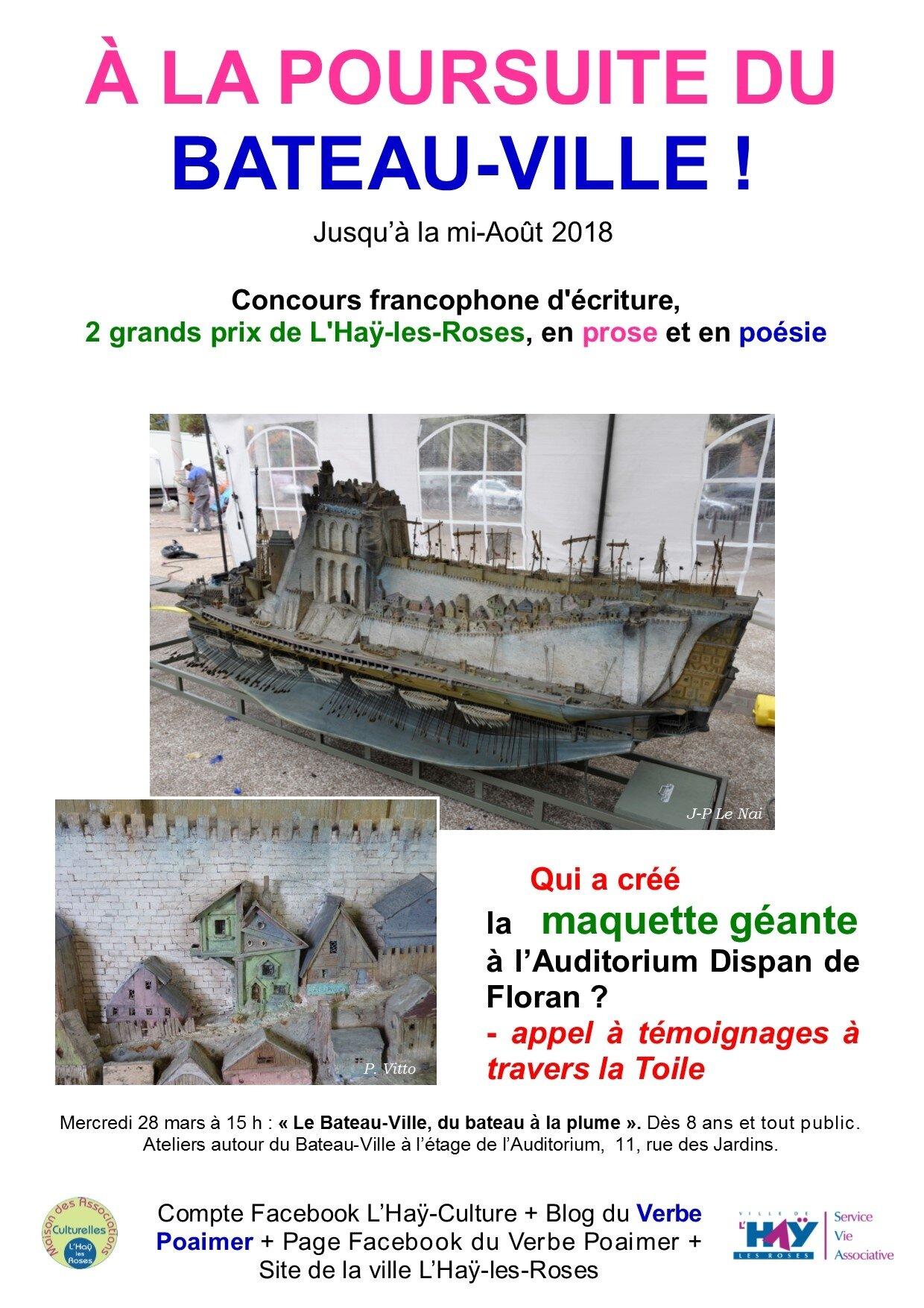Qui a créé le Bateau-Ville ? avis de recherche, A la Poursuite du Bateau-Ville, concours proses et poèmes 2018