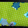 30. vert imprimé chats, bordure écossais pastel
