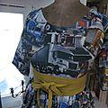 Robe RAYMONDE en coton imprimé ''belle comme un camion'' - manches raglan - longueur genoux - taille unique (12)