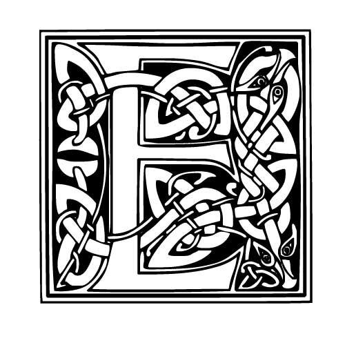lettre typo celtique E