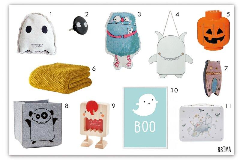 Deco halloween fantôme monstre citrouille coussin rangement poster enfant kids bbtma chambre kidsroom decokids