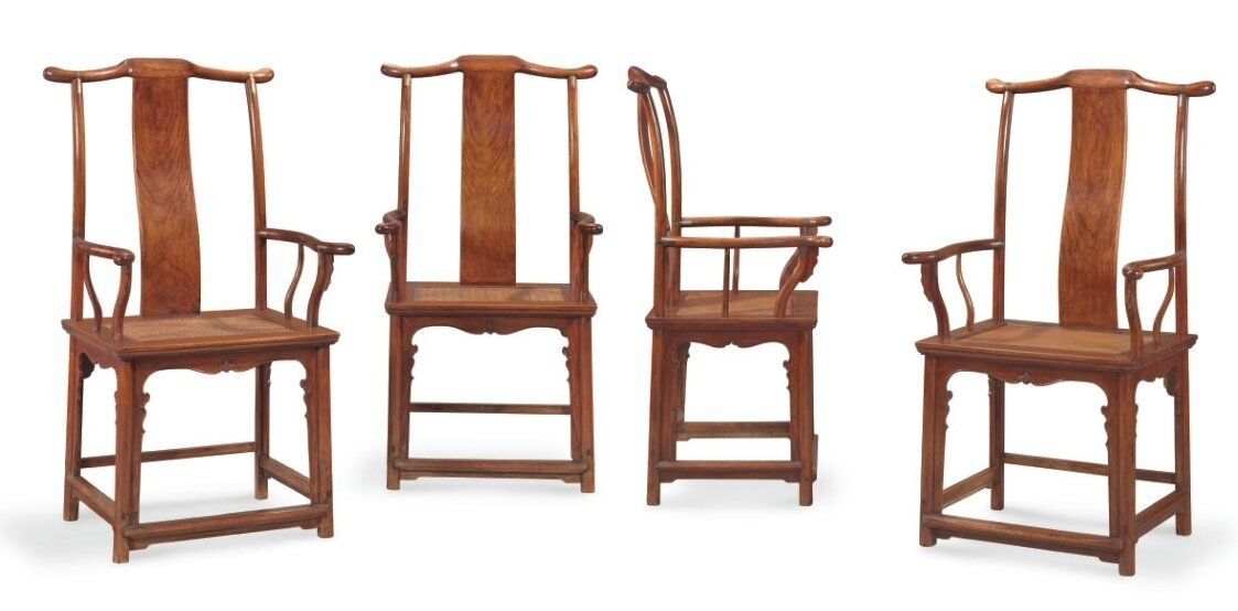 An important and very rare set of four huanghuali 'Four-corners-exposed official's hat' armchairs, sichutouguanmaoyi