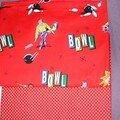 tissu impression bowling et petits pois rouge import américain
