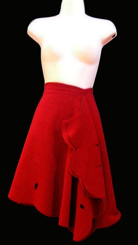 jupe papillon en polaire rouge hermès