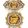 Golden topaz, citrine and diamond brooch, mainly late 18th century