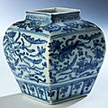Rare blue and white porcelain jar, china, ming dynasty, jiajing period, 1522 - 1566