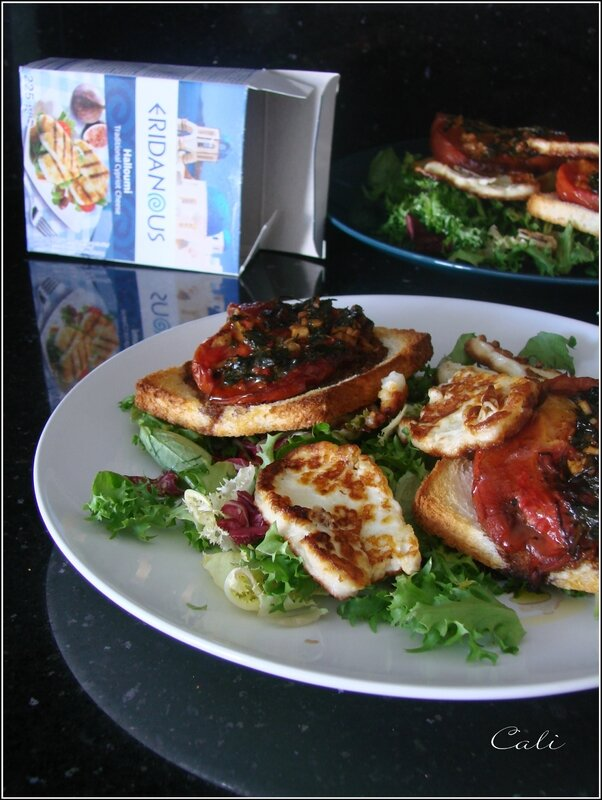 salade de tomates a la proven ale halloumi grill vanille poivre rose. Black Bedroom Furniture Sets. Home Design Ideas