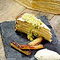 Gâteau de crêpes au muscovado, salsifis caramélisés, glace au rhum