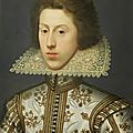William larkin, portrait of thomas pope, later 3rd earl of downe, bust-length, in a white tunic embroidered with gold and...