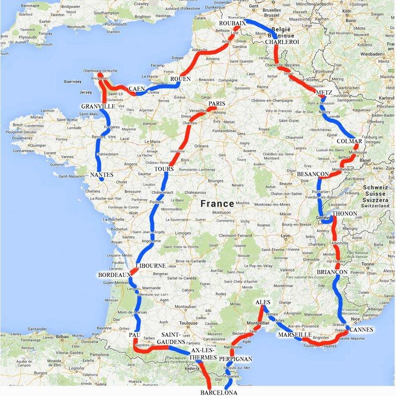 Carte Tour de France 1957