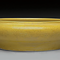 An incised yellow-glazed 'dragon' brush washer, 18th century