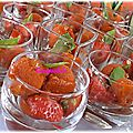 Verrines tomates,fraises,sorbet poivrons et basilic