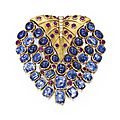 18 karat gold, sapphire, ruby and diamond brooch, france